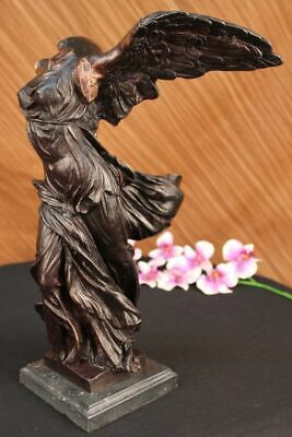 100% Bronze Nike / Winged Victory on a Marble base Sculpture Classical Art, Gift