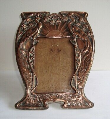 Antique Arts Crafts Art Nouveau Copper Peacock Easel Photo Frame
