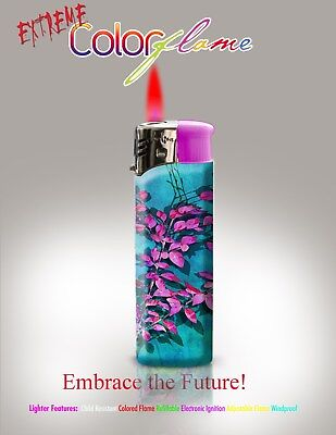 Color Flame Fire Butane Colorflame Torch Red Flame 420 Lighter Cherry Blossom