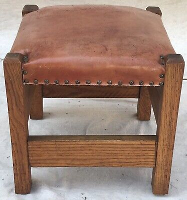 20Th C Arts & Crafts / Mission Oak Style Burnt Orange Leather Top Footstool