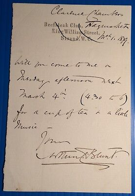 Arthur Cecil [Blunt] - actor, playwright, manager - 1879 letter from Haymarket