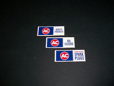 AC (3) oil filters,quality products,spark plug, vintage original decal sticker.