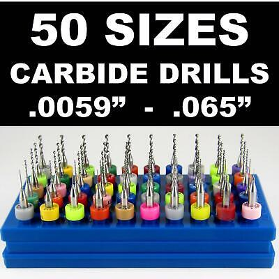 "50 Size 1/8"" Shank Micro Carbide Drill Bit Set  Sizes from .0059"" to .065"" LG1 U"