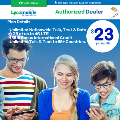 LYCAMOBILE SIM CARD With Preloaded Prefunded $29 Plan First Free