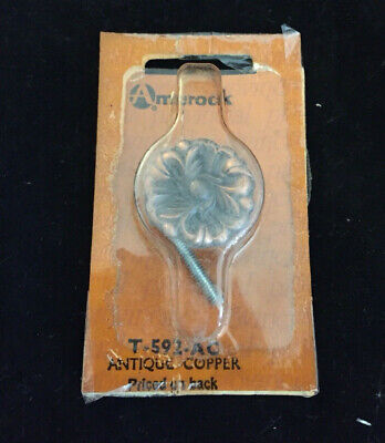 T-592 Amerock French Provincial Drawer Pull Cabinet Knob Antique Copper Flower