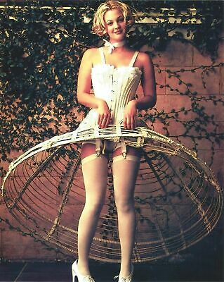 A Drew Barrymore Posing White Outfit Smiling 8x10 Picture Celebrity Print