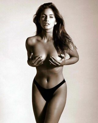 A Cindy Crawford Grabbing The Breasts Posing 8x10 Picture Celebrity Print