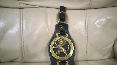 Vintage Four Horse Brass  Decorations on Original Leather Strap