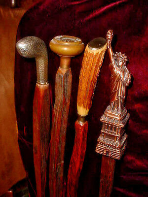 Four 4 Unique  Rustic Rived Walking Sticks Collection   Jim Hall Ky Cane Artist