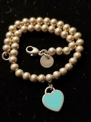 32c75fa89 Return to Tiffany & Co. Mini Heart Tag Bracelet Bead Ball 925 Sterling  Silver