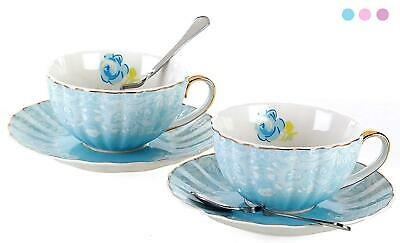 Jusalpha Porcelain Tea Cup and Saucer Coffee Cup Set with Saucer and Spoon FD-TC