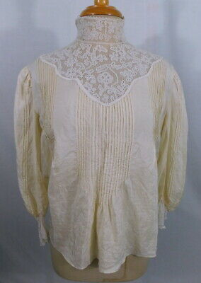 Antique 19th Century Victorian Lace Trim Pin Tuck Pure Silk Blouse Blouse Top