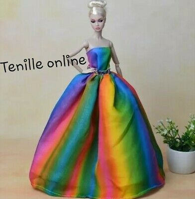 New Barbie clothes outfit princess wedding ball gown dress rainbow shoes