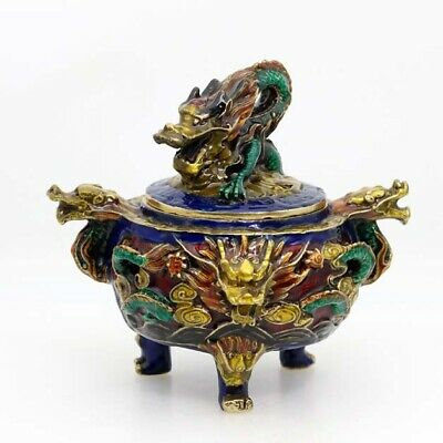 Collection Chinese cloisonne sapphire gold Dragon incense Burner Qing Dynasty