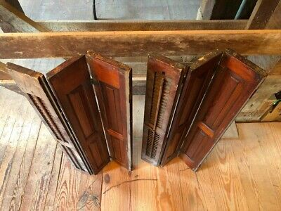 """Vintage Set Interior Wood Window Shutters Louvered 16"""" Wide x 37""""Tall Old Pair"""