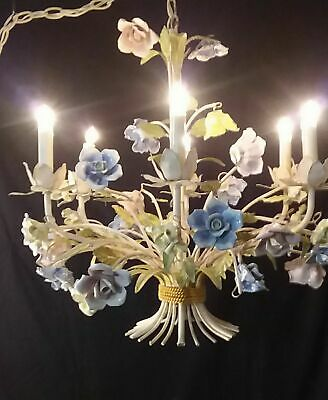 Fab. Vintage Antique French Style Tole Chandelier 6 Arms Porcelain Roses 24""
