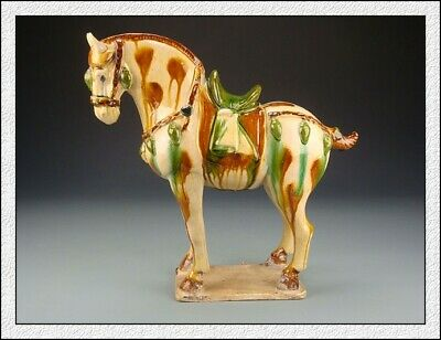 Nice Wonderful Ancient Chinese Tang Dy SanCai Speckle Horse Statues