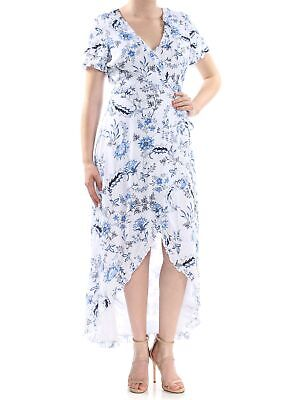 0041bfeaa25 GUESS $108 Womens New 1118 White Floral V Neck Short Sleeve Tulip Dress M B+