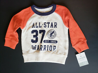 Carters Baby Boy Sweatshirt Size 12 Months Long Sleeve Navy Orange NWT