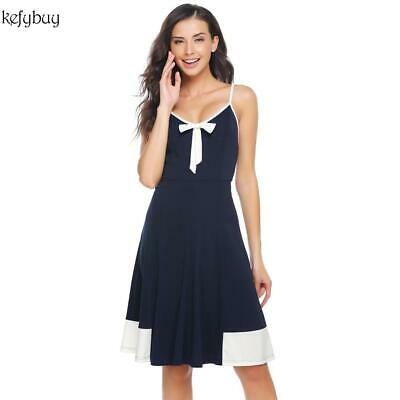 Women Sexy Spaghetti Strap Bow Backless Patchwork Fit and Flare Party KFBY