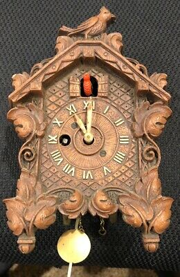 Antique Keebler Animated Bobbing Bird Cuckoo Pendulette Wall Clock