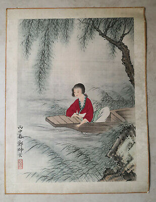 Antique Chinese Painting on Silk with Girl in Red Boating Under Willow Tree