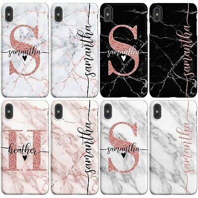 Initials Phone Case Personalised Marble Cover For Apple Iphone 7 8 X Xs Max Xr