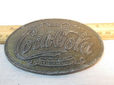 Vintage Coca Cola Belt Buckle Collectible Metal 5 Cents At Fountain Old
