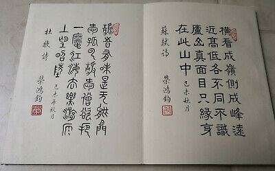 Vintage Chinese Hand Written Calligraphy Book Album With Seal Marks 20 Pages
