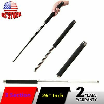 26 inch Self-Defense Three Sections Telescopic Sticks Portable Retractable Whip