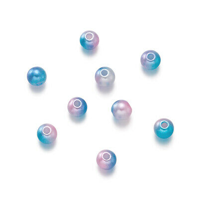 100PCS ABS Plastic Imitation Pearl Beads Necklace Jewelry Making Round Colorful
