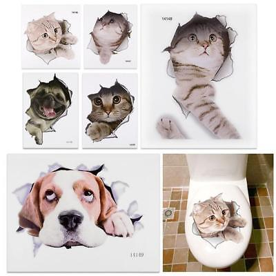 3D Cute Animal Cat Dog Removable Bathroom Toilet Seat Wall Sticker Decor JJ
