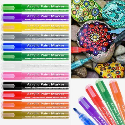 12X Acrylic Pen Paint Markers Permanent Marker Art Paint Pens Rock Glass Pebbles