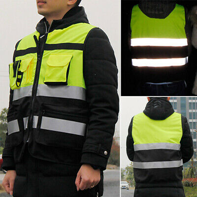 High Visibility Reflective Safety Vest  Work Security Pockets Zip Front