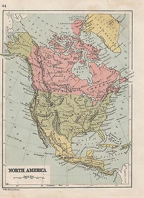c1890 VICTORIAN MAP ~ NORTH AMERICA ~ CANADA UNITED STATES MEXICO CUBA GREENLAND