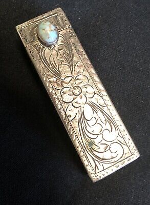 Antique Vintage Sterling Silver Ladies Lipstick & Compact Mirror Turquoise Stone