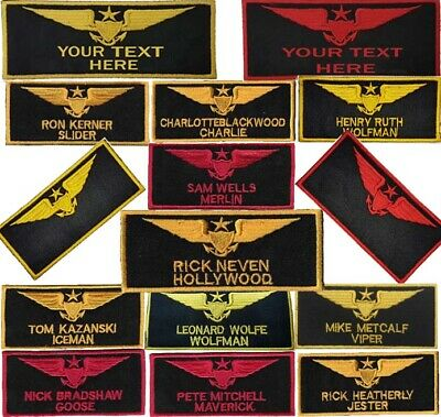 4 inch TOPGUN RICK NEVEN IRONON NAME PATCH HOLLYWOOD