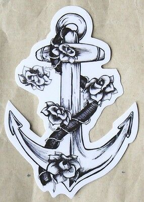 Anchor, Rope and Roses Transparent PVC Sticker Rockabilly Tattoo Style