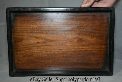 "14"" Collect Old Chinese huanghuali Wood Carving Dynasty Palace Plate Tray Pallet"
