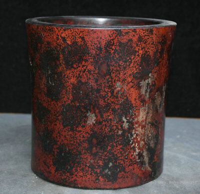 """7"""" Collect Old Chinese Huanghuali Wood Hand-Carved Round Brush Pot Pencil Vase"""
