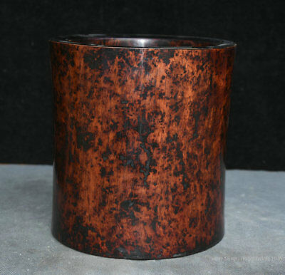 "7"" Collect Chinese Old antique Huanghuali Wood Hand-Carved Brush Pot Pencil Vase"