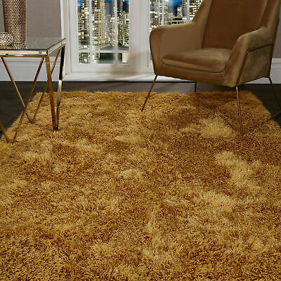 5.5cm Ochre Yellow SHAGGY Floor RUG Soft SPARKLE Shimmer Glitter Thick Pile