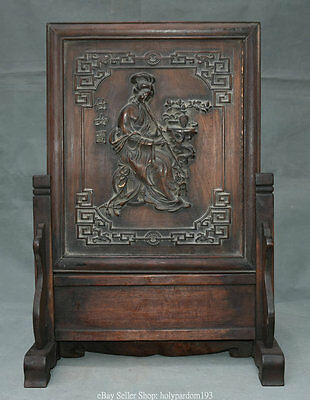 """19.6"""" Old Rare China Huanghuali Wood Carved Belle Beauty Woman Flower Screen"""