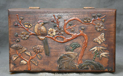 "10"" Chinese Huanghuali Wood Inlay Shell Flower Bird Butterfly Storage Jewel Box"
