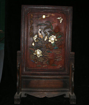 "22"" Antique China Huanghuali Wood Inlay Shell Dynasty Fish Lotus Flower Screen"