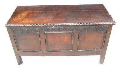 Antique 17th Century Carved Oak Coffer Blanket Box Chest Toy Box Shoe Box c1700
