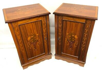 Pair Antique Inlaid Marquetry Rosewood Bedside Cupboards Cabinets Lamp Stands