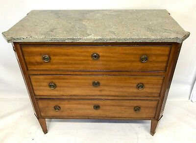 Antique French Empire Style Satin Walnut and Marble Chest of Drawers