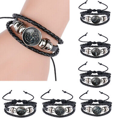 Fashion Men Women MultiLayers Leather Bracelets Game of Thrones Wristband Bangle