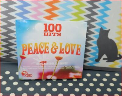 """5xCD New Sealed Fast Freepost """"100 Hits:Peace & Love"""" CD 60s Psychedelic sounds"""
